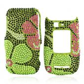 Motorola Quantico W845 Bling Hard Case - Raised Pink Flower on Green Gems