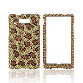 Motorola Triumph Bling Hard Case - Black/ Brown Leopard on Gold Gems