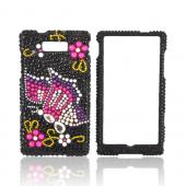 Motorola Triumph Bling Hard Case - Pink/ Purple Butterfly on Black Gems