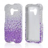 Purple/ Lavender Waterfall on Silver Gems Bling Hard Case for Motorola Moto X
