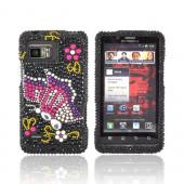 Motorola Droid Bionic XT875 Bling Hard Case - Pink/ Purple Butterfly on Black Gems