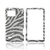 Motorola Droid Bionic XT875 Bling Hard Case - Black Zebra on Silver Gems