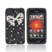 Motorola Droid 4 Bling Hard Case - Silver Bling Bow on Black Gems