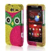 Green/ Hot Pink/ Yellow Owl Bling Hard Case for Motorola Droid Razr M