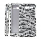 Black/ Silver Zebra Bling Hard Case for Motorola Droid RAZR M