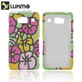 Motorola Droid RAZR HD Bling Hard Case - Green/ Hot Pink/ Yellow Hawaiian Flowers