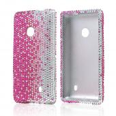 Hot Pink/ Silver Gems Bling Hard Case for Nokia Lumia 521