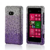 Purple/ Lavender Waterfall on Silver Gems Bling Hard Case for Nokia Lumia 810