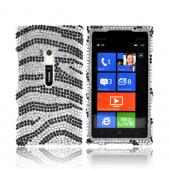 Nokia Lumia 900 Bling Hard Case - Black Zebra on Silver Gems