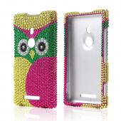 Hot Pink/ Green Yellow Owl Bling Hard Case for Nokia Lumia 925