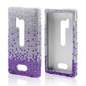 Purple/ Lavender Waterfall on Silver Gems Bling Hard Case for Nokia Lumia 928