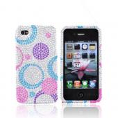 Luxmo Apple Verizon/ AT&T iPhone 4, iPhone 4S Bling Hard Case - Purple/Blue/Pink Circles on Silver