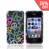 Apple iPhone 4 Bling Hard Case - Colorful Peace Signs on Black