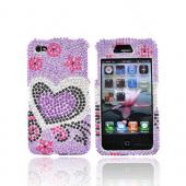Apple Verizon/ AT&T iPhone 4, iPhone 4S Bling Hard Case - Purple and Black Hearts on Purple Gems