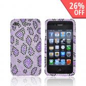 Apple Verizon/ AT&T iPhone 4, iPhone 4S Bling Hard Case - Purple/Black Leopard Print