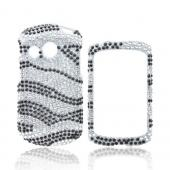 Pantech Swift Bling Hard Case - Black/ Silver Zebra