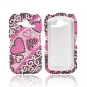 Pantech Burst 9070 Bling Hard Case - Black/ Silver Hearts on Pink Gems