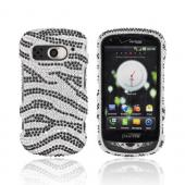 Pantech Breakout Bling Hard Case w/ Crowbar - Black Zebra on Silver Gems