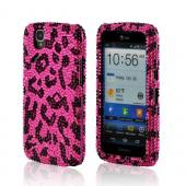 Pink/ Black Leopard Bling Hard Case for Pantech Flex
