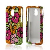 Green/ Hot Pink/ Yellow Hawaiian Flowers Bling Hard Case for Pantech Discover