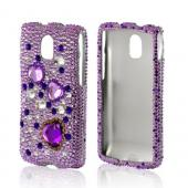 Purple Hearts on Light Purple/ Silver Gems Bling Hard Case for Pantech Discover