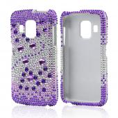 Purple Hearts on Light Purple/ Silver Gems Bling Hard Case for Pantech Perception