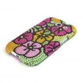 Samsung Galaxy S3 Bling Hard Case - Green/ Hot Pink/ Yellow Hawaiian Flowers