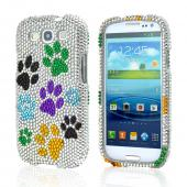 Samsung Galaxy S3 Bling Hard Case - Colorful Paw Prints on Silver Gems