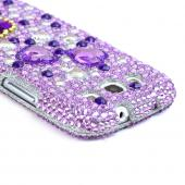 Samsung Galaxy S3 Bling Hard Case - Purple Hearts on Light Purple/ Silver Gems
