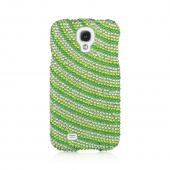 Green w/ White Gems Candy Swirl Bling Hard Case for Samsung Galaxy S4