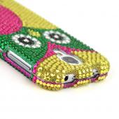 Green/ Hot Pink/ Yellow Owl Bling Hard Case for Samsung Galaxy S4