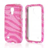 Hot Pink Zebra Gems on Baby Pink Bling Hard Case for Samsung Galaxy S4 Mini