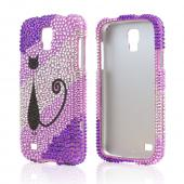 Black Kitty Cat on Purple/ Lavender Gems Bling Hard Case for Samsung Galaxy S4 Active