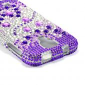Purple Hearts on Light Purple/ Silver Bling Hard Case for  Samsung Galaxy S4