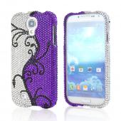 Black Vines on Silver/ Purple Gems Bling Hard Case for Samsung Galaxy S4