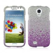 Purple/ Lavender Waterfall on Silver Gems Bling Hard Case for  Samsung Galaxy S4