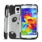 Silver/ Black Panda Bling Hard Case for Samsung Galaxy S5
