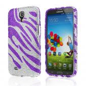 Purple Zebra Gems on Silver Bling Hard Case for Samsung Galaxy Mega 6.3