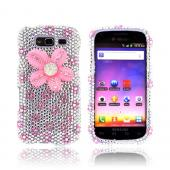 Samsung Galaxy S Blaze 4G Bling Hard Case - Pink Flowers on Silver/ Pink Gems