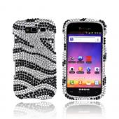 Samsung Galaxy S Blaze 4G Bling Hard Case - Silver Zebra on Black Gems