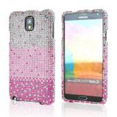 Hot Pink/ Baby Pink Waterfall on Silver Gems Bling Hard Case for Samsung Galaxy Note 3