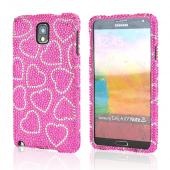 Silver Hearts on Hot Pink Bling Hard Case for Samsung Galaxy Note 3