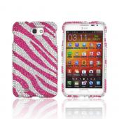Samsung Galaxy Note Bling Hard Case - Hot Pink Zebra on Silver Gems