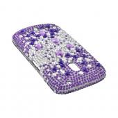Samsung Galaxy Nexus Bling Hard Case - Purple Hearts on Silver & Purple Gems
