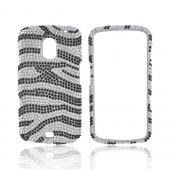 Samsung Galaxy Nexus Bling Hard Case - Black Zebra on Silver Gems