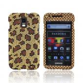 Samsung Galaxy S2 Skyrocket Bling Hard Case - Brown/ Black Leopard on Gold Gems