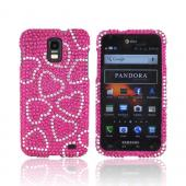 Samsung Galaxy S2 Skyrocket Bling Hard Case - Silver Hearts on Hot Pink Gems