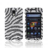 Samsung Galaxy S2 Skyrocket Bling Hard Case - Black Zebra on Silver Gems