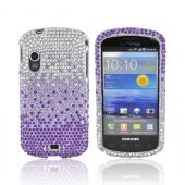 Samsung Stratosphere i405 Bling Hard Case - Purple/ Lavender Waterfall on Silver Gems