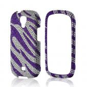 Purple/ Silver Zebra Bling Hard Case for Samsung Stratosphere 2